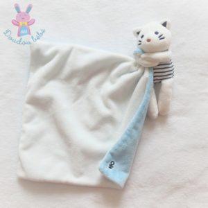 Doudou Chat rayé mouchoir blanc et bleu OBAIBI OKAIDI