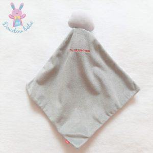 Doudou Raton laveur «my little hero» gris blanc rayé cape OBAIBI