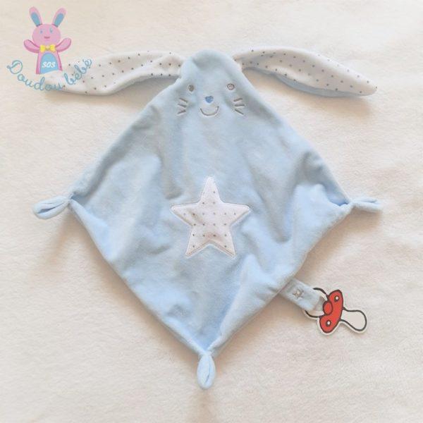 Doudou plat Lapin bleu blanc étoiles attache tétine TEX CARREFOUR