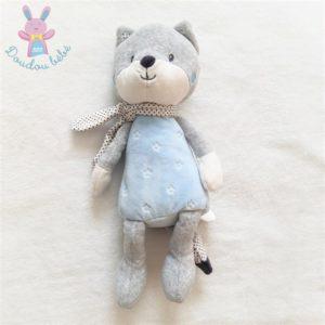 Doudou Renard gris bleu blanc étoiles écharpe à pois TEX BABY