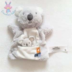 Doudou Koala marionnette et bébé gris blanc TAPE A L'OEIL TAO