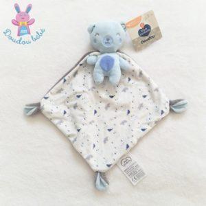 Doudou Ours bleu cape blanc gris animaux MOTS D'ENFANTS