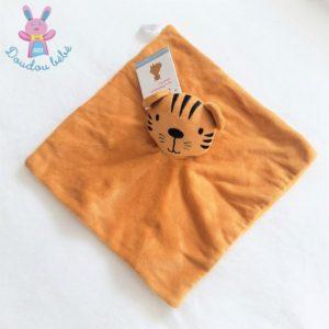 Doudou plat Tigre tout doux orange et noir BAMBINO