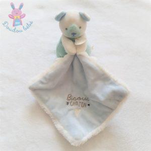 Ours bleu blanc mouchoir «Bisous chaton» DOUDOU ET COMPAGNIE