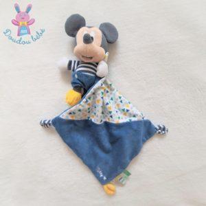 Doudou Mickey bleu blanc rayé mouchoir triangles colorés DISNEY