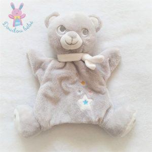 Doudou Ours marionnette gris blanc étoiles MOTS D'ENFANTS